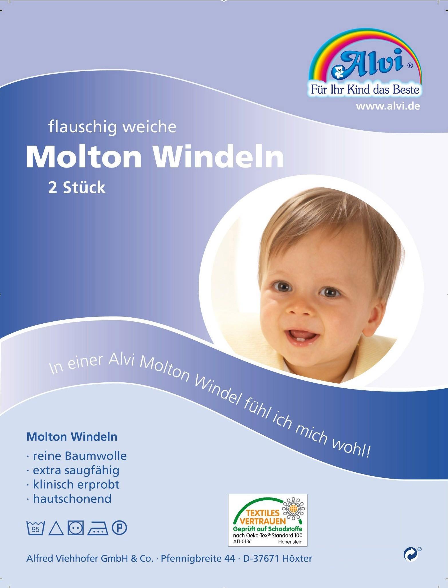 Alvi Molton-Windeln 2er Pack 80 x 80 cm