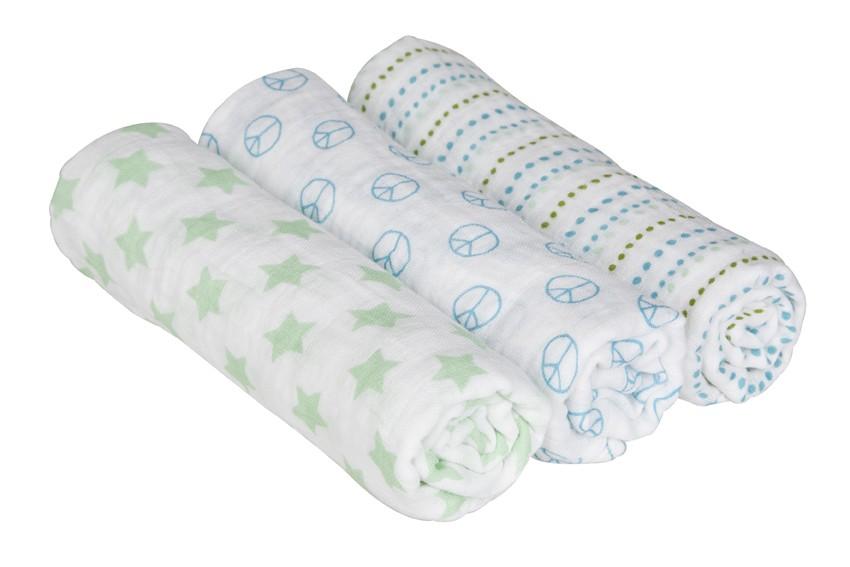 Lässig Einschlag und Mulltuch 3er-Set/85x85cm (Swaddle & Burp Blanket)