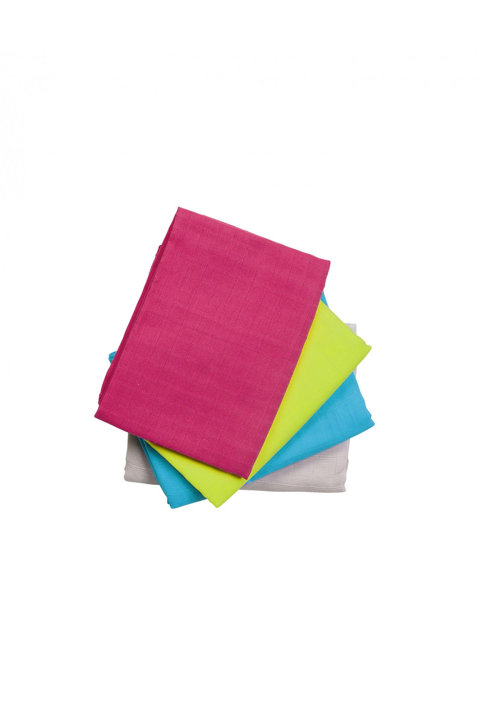 Odenwälder Mull-Windeln uni-farbig 4er Pack 80 x 80
