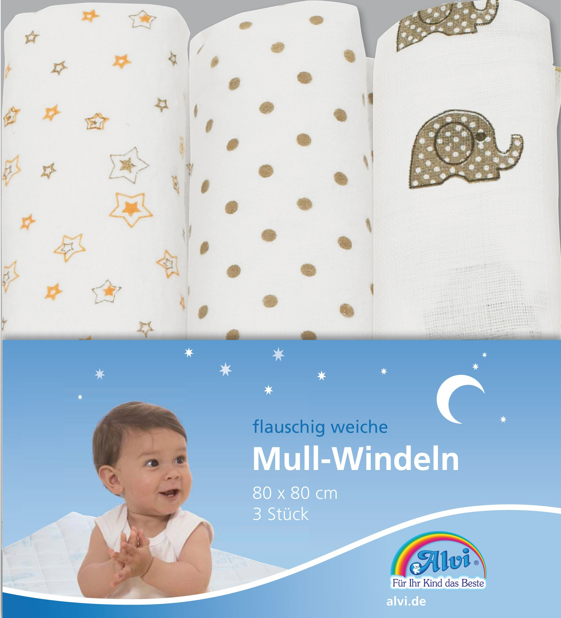 Alvi Mull-Windeln gerollt 3-er Pack 80 x 80 cm