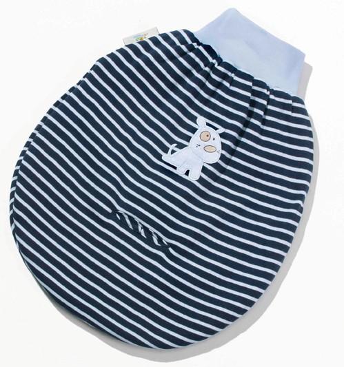 EASYBABY Strampelsack Teddyfleece, Stripes navy
