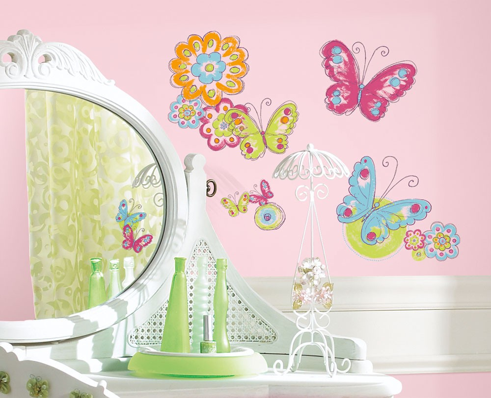 RoomMates Wandsticker Brushwork Butterfly