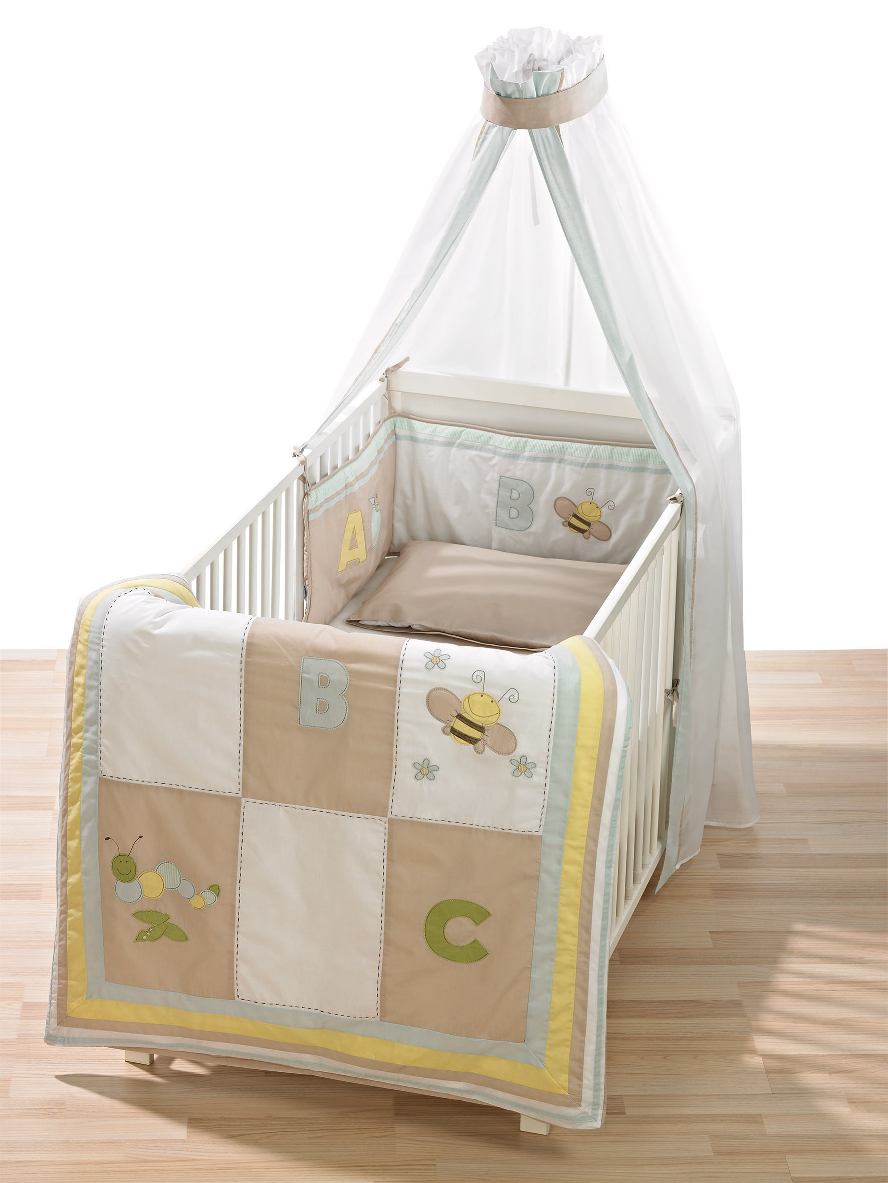 Alvi Bettset Himmelset Applikation Patchwork beige 3-tlg.