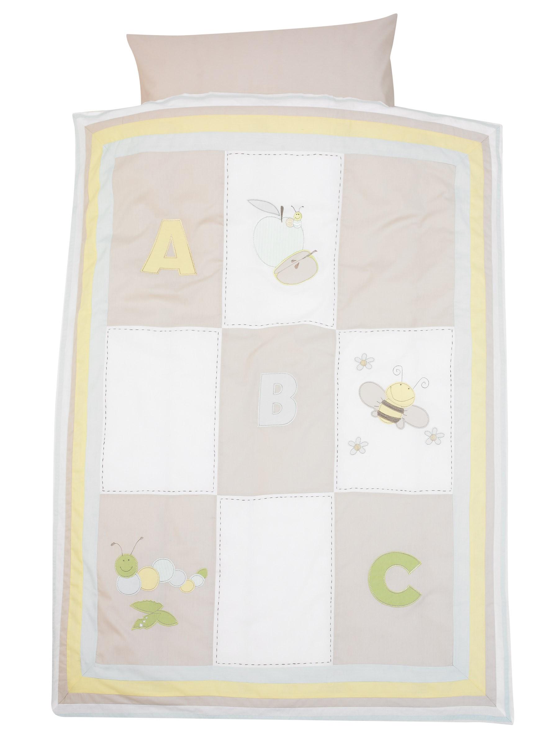 Alvi Bettwäsche 100x135 Applikation Patchwork beige